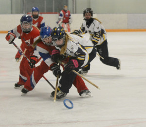 Kayla Dempsey, middle, of Calgary U14AA Crossfire battles with Breanna McCullough, right, of Airdrie U16A Sting in one of their regular season games at Murray Copot arena in Calgary on Sunday, Feb. 1, 2015. (Photo by Elizabeth Merritt/SAIT Polytechnic)